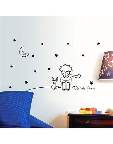 ZARU Pared Pegatina Estrellas Luna El pequeño príncipe muchacho Decoración para el hogar Navidad (Negro