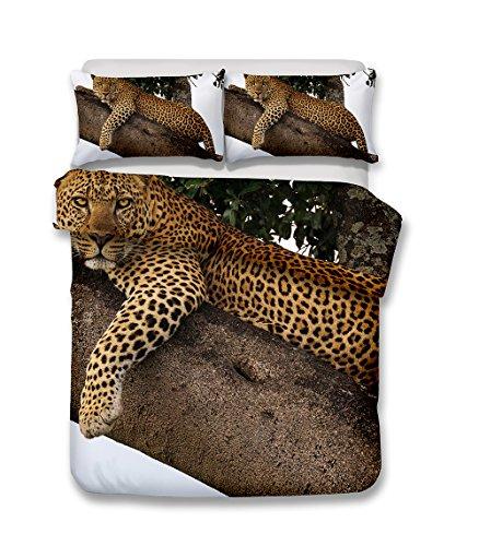 Damara Snow Leopard animals series 3D Bedding Set Print Duvet Cover Set Lifelike Bed Sheet #03 (7, (Leopard Print Animal Series)
