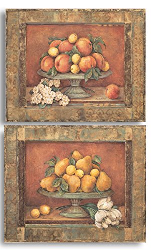 Florentine Peach & Pear; Two 14x11in Classic Fruit Bowl Still Life Poster Prints ()