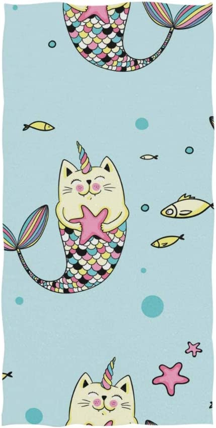 Cats Catfish Cowfish Mermaid Cats Seaweed  Hanging Fingertip Bathroom Towel