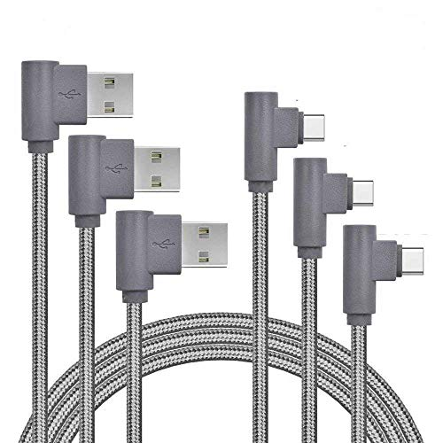 USB Type C Cable, Daker [3Pack] 6ft Right Angle 90 Degree Nylon Braided Cord Charge and Data Sync Fast Charger for Galaxy S8/S8+, Note 8, Google Pixel XL, LG G5/G6/V20, ZTE Zmax Pro Z981 (Grey)