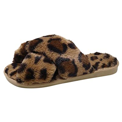 Dainzuy Womens Faux Fur Slippers Soft Plush Warm Leopard House Shoes Anti Slip Open Toe Indoor Outdoor Slippers: Clothing [5Bkhe0501966]