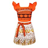 Agoky Toddler Girls Adventure Princess Moana Costume Halloween Cosplay Dress up Beachwear Orange 12-18 Months