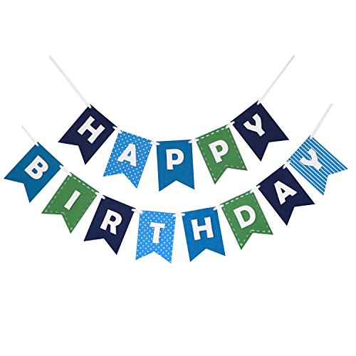 Happy Birthday Banner Bunting Laser Cut Felt 60 inches wide - Blues by Decomod ()