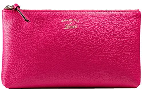 Gucci Grained Calf Italian Leather Trademark-Embossed Swing Clutch (Gucci Leather Clutch)