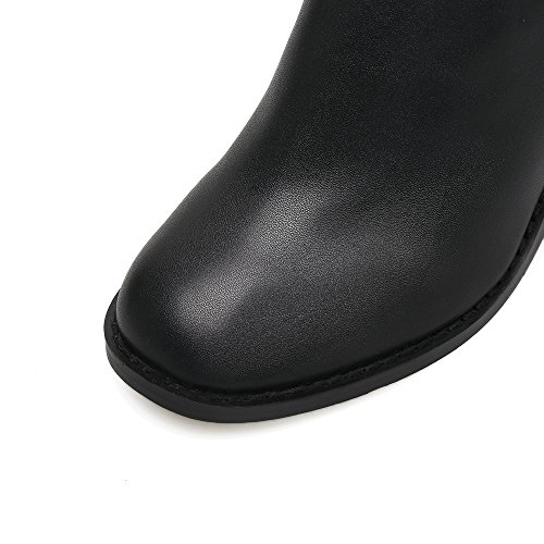 alto tacón Botas gruesas alto black mujer de cabeza redonda la de de para de con los clip tacón cinturón zapatos botas qHWgxUq