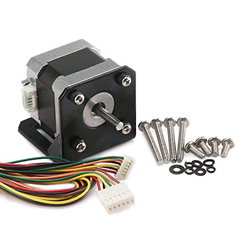 Universal Motor Bracket Kit - DROK 2-Phrase 4-Wire Hybrid Nema 17 Stepper Motor, 6 Outgoing Lines 0.41Nm High Torque 42 Step Motor, 10-36V Mini DC Motor Kit with High Hardness Motor Basket for Automatic 3D Printer DIY