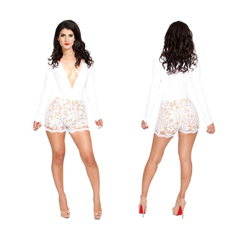 Amazon.com: Sexy Womens White Floral Lace Deep V Neck Bodycon ...