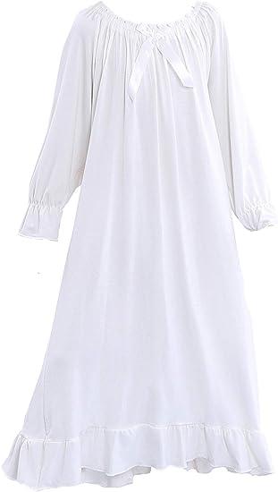 PUFSUNJJ Lovely Girls Princess Nightgown Soft Cotton Sleepwear Kids 3-12 Years