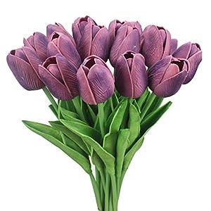 Duovlo 18 Heads Artificial Mini Tulips Real Touch Wedding Flowers Arrangement Bouquet Home Room Centerpiece Decor 5