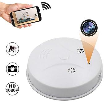 Balscw-J WiFi Hidden Spy cámara Detector de Humo, HD 1080P Wireless Nanny CAM Detector de Movimiento/visión Nocturna/grabación de Bucle para la Seguridad ...