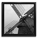 JP London Ready to Hang Made in North America Art Framed 1.5in Thick Gallery Wrap Canvas Wall Natural Windmill Power 18in SQSFCNV2033