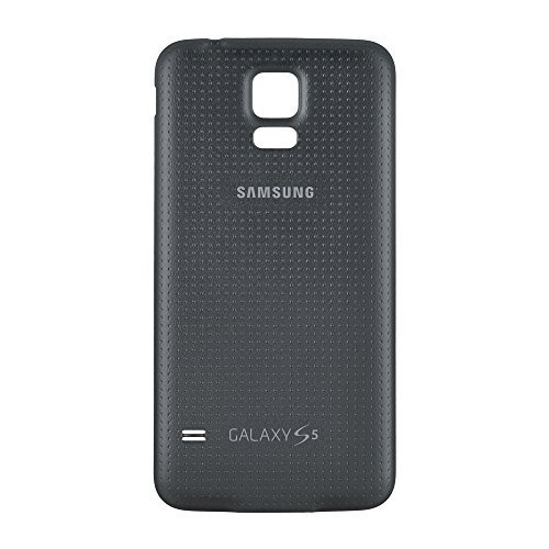 OEM Samsung Galaxy S5 SM-G900 Battery Door Back Cover Replacement - Charcoal Black (Samsung Logo) (Certified Refurbished)