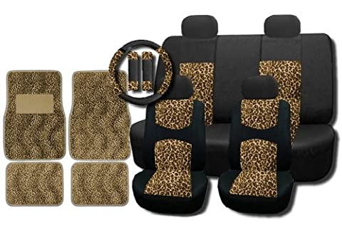 New and Exclusive Mesh Animal Print Accent Interior Set Cheetah Tan Brown 15pc Seat Covers Front & Back Lowback, Back Bench, Steering Wheel & Seat Belt Covers - Floor (Safari Print Seat Covers)