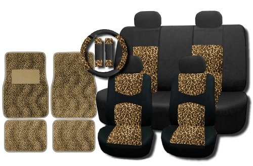 New and Exclusive Mesh Animal Print Accent Interior Set Cheetah Tan Brown 15pc Seat Covers Front & Back Lowback, Back Bench, Steering Wheel & Seat Belt Covers - Floor Mats (Animal Print Seat Covers)