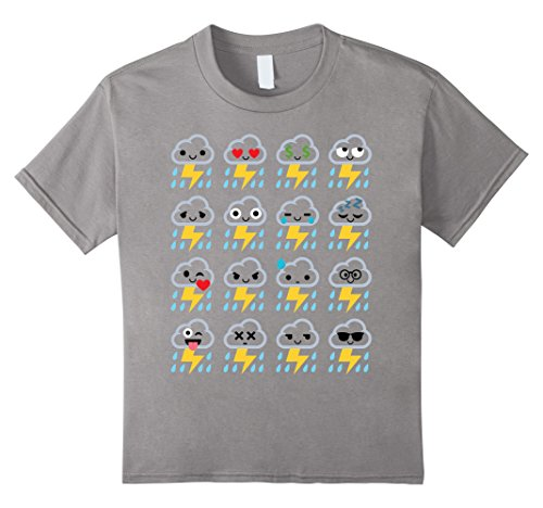 [Kids Thunderstorm Emoji Cloud Rain Lightning Shirt T-Shirt Tee 10 Slate] (Thunder Lightning Costume)