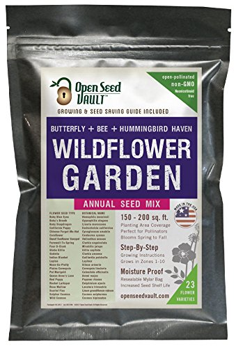 Wildflower Seeds Bulk Annual Seed Mix plus Full Growing Guide by Open Seed ()