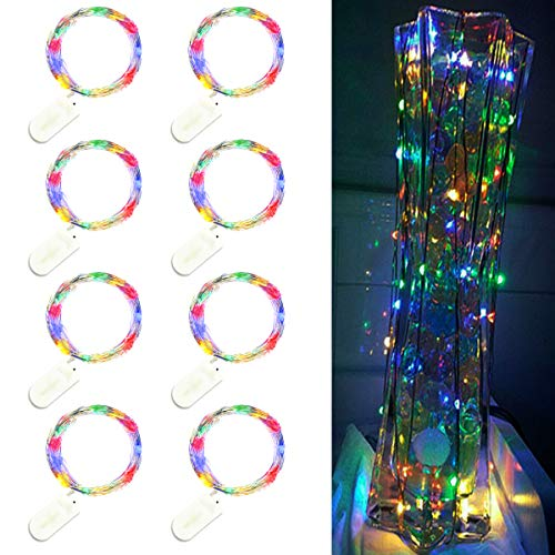 Trees&Forrest 8 Pack LED Starry String Lights, Battery Operated Fairy Lights, 6.5ft 20LEDs, Decorations for Bedroom Patio Garden Birthday Party Wedding Christmas DIY Crafing Home Decor, Multicolor