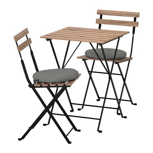 TARNO テルノー テーブル&チェア2脚 屋外用, グレーブラウン, フローソーン/デューヴホルメン ダークグレー 092.708.70 B07DYJXKNS