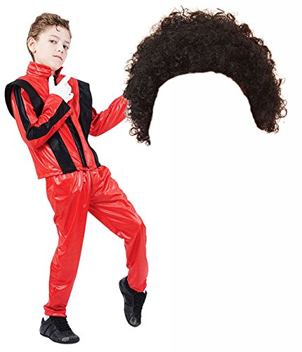 Afro Costumes (Boys Michael Jackson 80s Fancy Dress Costume with Afro Wig (10-12 years))