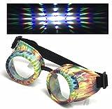 UV Glow in The Dark Steampunk Rave Goggles Prism Diffraction Retro Round Glasses