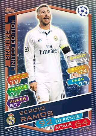 Match Attax Champions League 2016/2017 - Sergio Ramos Bronze Limited Edition Card (LEMTB) (Limited Card Bronze Edition)