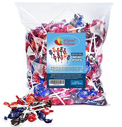 Mini Tootsie Pops - Lollipops For Kids - Tootsie Pops Bulk - Tootsie Pops Miniatures - Tootsie Pops - Bulk Candy - 2.5 Pounds