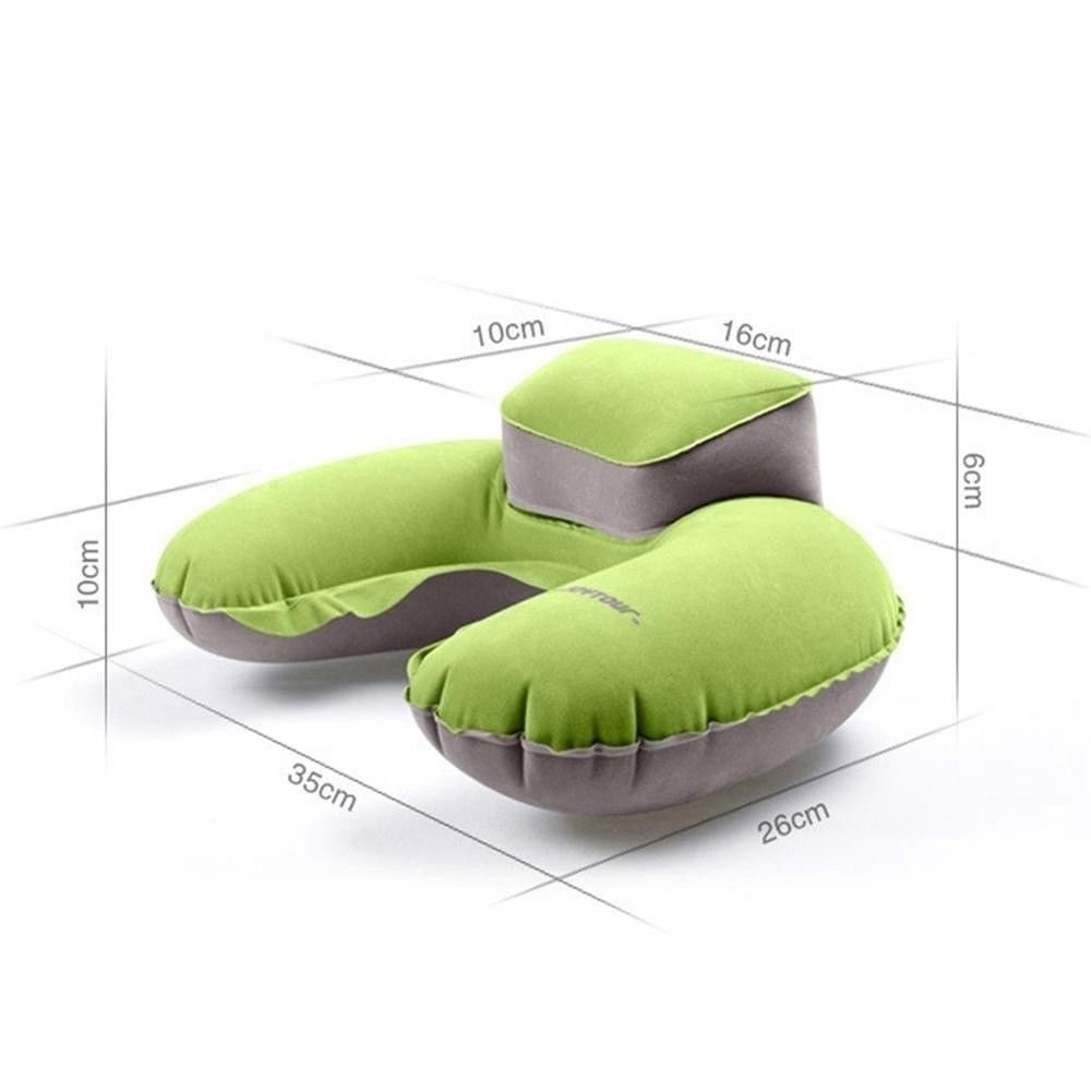 KINJOHI Travel Pillow Inflatable U Shape Neck Blow Up Cushion PVC Flocking Pillow for Camping and Traveling, with Storage Bag by KINJOHI (Image #5)