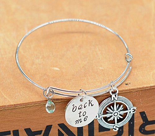 Rurah Charm Bangle Bracelet Wire Adjustable Gift for Friends or Family,Style 2