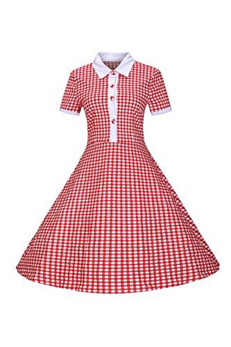 Camicia donna manica corta Vintage Swing Red S