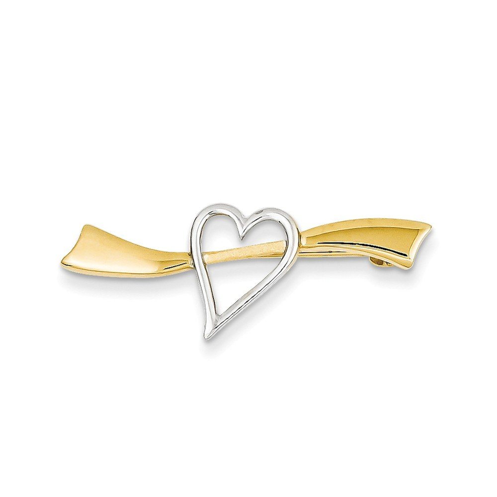14K Yellow Gold and Rhodium-Plating Solid Satin Polished Heart Pin