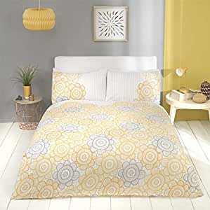 FLORAL SUNFLOWER STRIPE COTTON BLEND YELLOW CANADIAN QUEEN SIZE (COMFORTER COVER 230 X 220 - UK KING SIZE) (PLAIN WHITE FITTED SHEET - 152 X 200CM + 25 - UK KING SIZE) PLAIN WHITE HOUSEWIFE PILLOWCASES 6 PIECE BEDDING SET