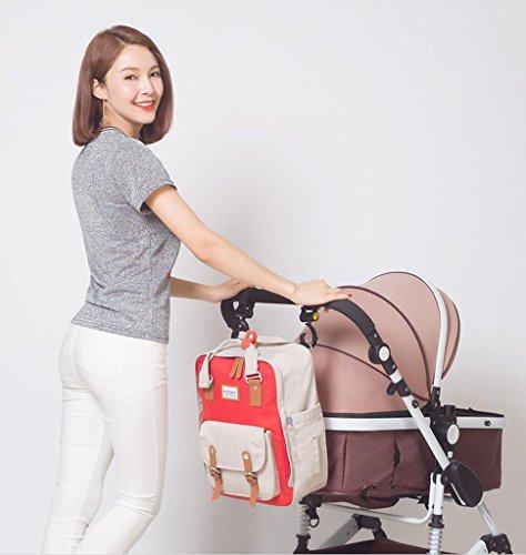 HJXJXJX Bolsa de pañales con cinturón correas cambiador de almohadilla y aislamiento de bolsillo para mamá y papá Wide Open diseñador bebé pañal mochila bolsa de viaje , Orange Orange