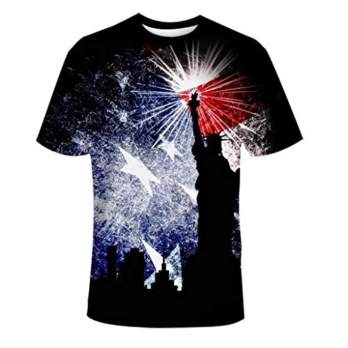 (Flag Printing T Shirts for Men Independence Day Tops Muscle Shirt Sport Fitness Black)