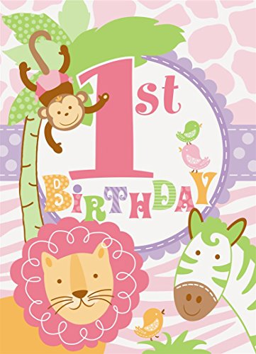 Pink Safari First Birthday Invitations, 8ct