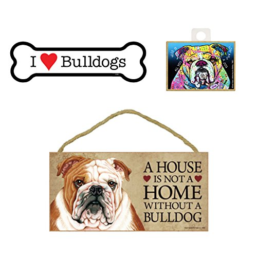 Bulldog Items Dog Lover Gift Bundle - Decorative Wall Sign A House is Not a Home Without a Bulldog, Car Magnet I Love Bulldogs, and Refrigerator Magnet All You Need is Love and a Dog (Home Accessories English)