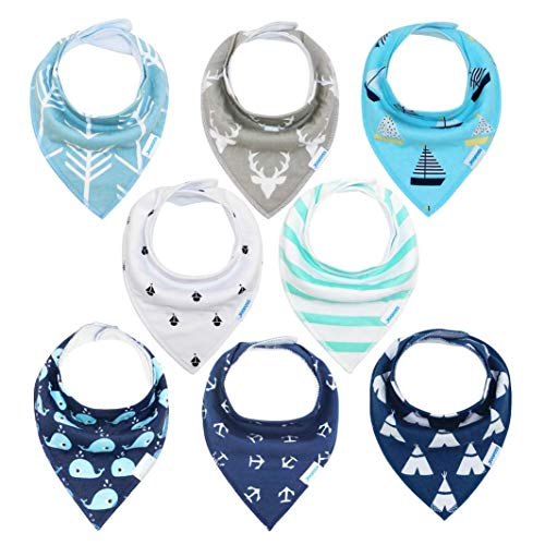 (Baby bibs 8 Pack Soft and Absorbent for Boys & Girls - Baby Bandana Drool Bibs)