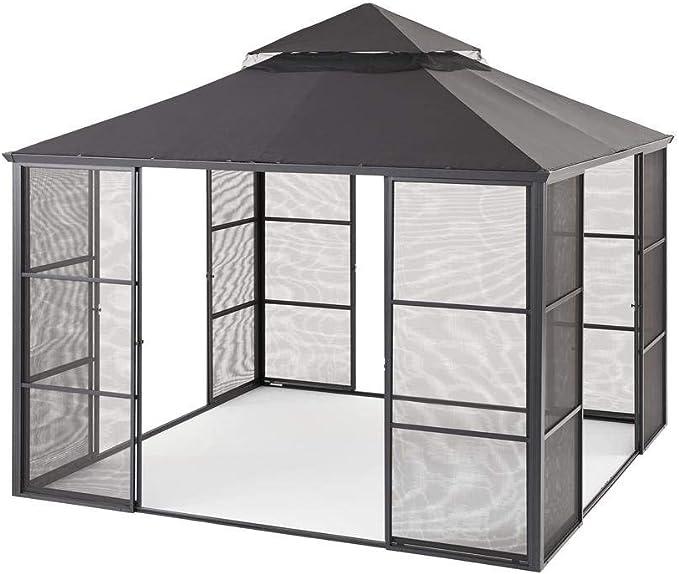 Hampton Bay - Cenador de Puerta corredera (Aluminio, 3, 35 x 3, 35 m): Amazon.es: Jardín
