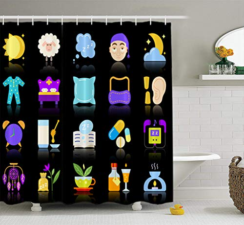 Summor Moon-Sun-Face Fabric Shower Curtain 72x78 inches Flat Sign Kit Sleep Dream Pictogram Collection Bed Rest Pillow Simple Cartoon Waterproof Bathroom Shower Curtains Set of Hooks ()