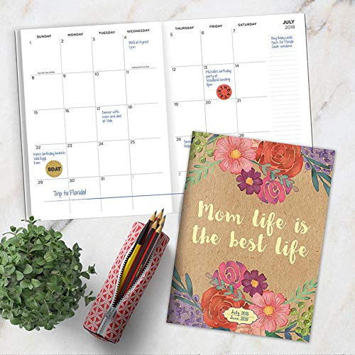 2018-2019 Academic Spiral Mom Life is The Best Life Monthly Planner Mom Life by TF Publishing