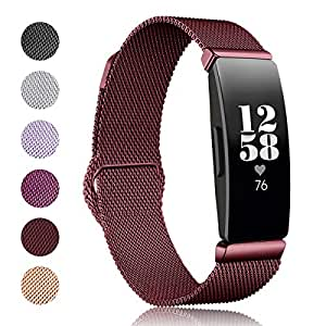 Kartice Compatible Fitbit Inspire HR Bands/Fitbit Inspire Band,Inspire Accessory Stainless Steel Mesh Men Women Replacement Strap for Fitbit Inspire & Inspire HR Fitness Tracker(Large,Sangria)