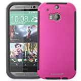 Fosmon® HTC One (M8) Case (HYBO-SNAP) Full-Body Hybrid Protective Case Cover with Built-In Screen Protector for HTC One (M8) 2014 - Fosmon Retail Packaging (Pink)