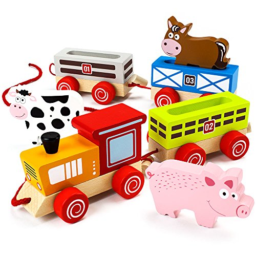 Wooden Wonders Push-n-Pull Busy Barnyard Train (7pcs.) by Imagination Generation (Set Wooden Barn)