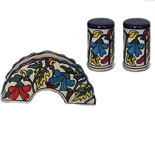 (Indeasia Srijan Handcrafted & Hand painted Salt & Pepper Shaker With Napkin Holder In Multicolor Moroccan Design)