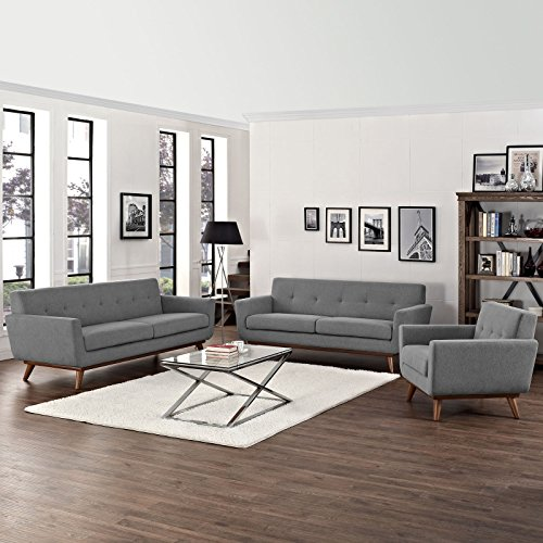 Modway Engage Mid-Century Modern Upholstered Fabric Sofa, Loveseat and Armchair Set In Expectation Gray