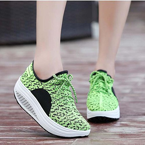 Light Wedge Trainers Shoes Platform Sneakers Solshine Women's up Lace Green Weight Running Heel Shoes Casual BE1qITvqUw