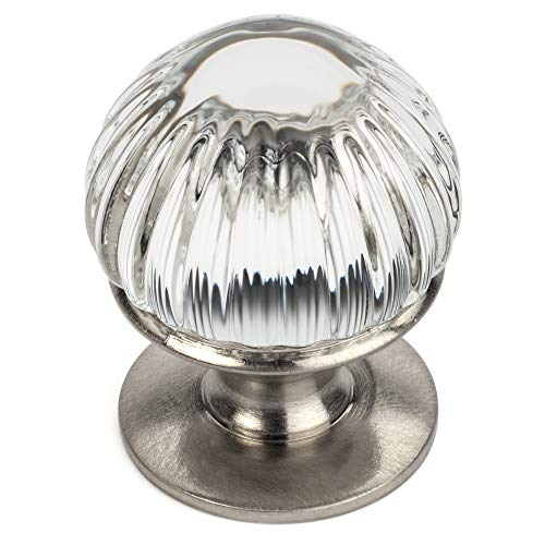 "5 Pack - Cosmas 6812SN-C Satin Nickel Cabinet Hardware Round Knob with Clear Glass - 7/8"" Diameter"