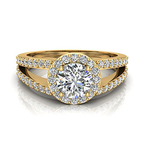 1.40 ct tw Round Brilliant Split Shank Halo Engagement Ring 14K Yellow Gold (Ring Size 8.5) (Yellow Gold 14k Split Ring)