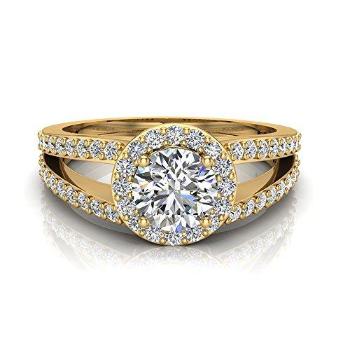 1.40 ct tw Round Brilliant Split Shank Halo Engagement Ring 14K Yellow Gold (Ring Size 8.5) (Gold Split Yellow 14k Ring)