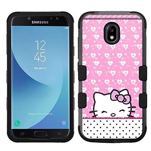 (for Galaxy J7 Crown, J7 Refine, J7 Star, J7V 2nd Gen. SM-J737, Hard+Rubber Hybrid Rugged Impact Cover Case - Hello Kitty #Wink )